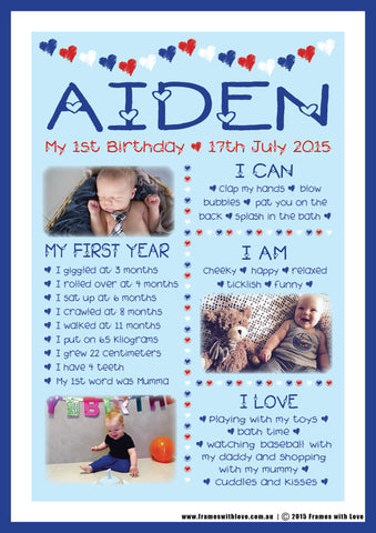 Birthday Wall Art - 1st Birthday with Photos - Blue - Boy (1178)