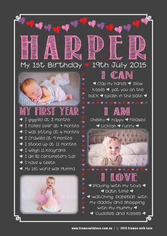 Birthday Wall Art - 1st Birthday with Photos - Blackboard Design - Girl (1179)