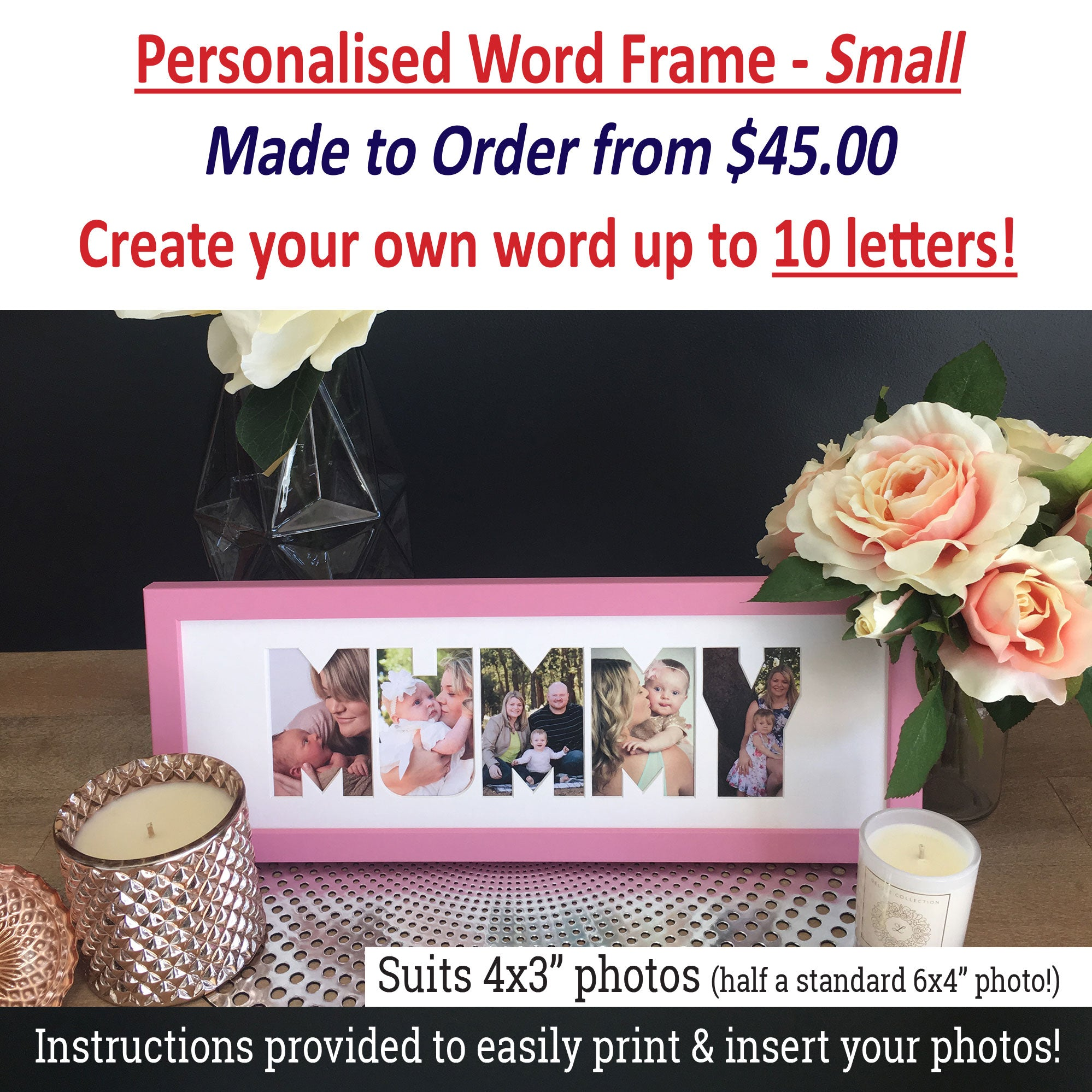Personalised Word Frames - Create your own 3 letter word - SMALL ...