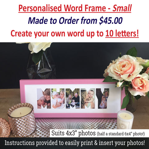 "Personalised Word Frames - Create your own 3 letter word - LARGE SIZE - suits 4""x6"" photos!"