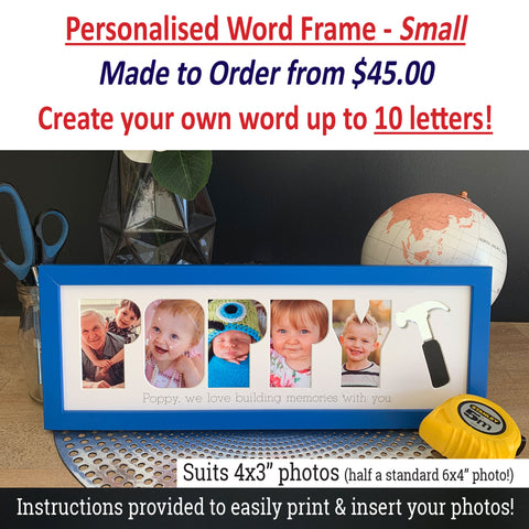 Personalised Word Frames - Create your own 3 letter word - SMALL SIZE