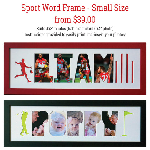 SPORT Word Frames - Create your own word - SMALL SIZE