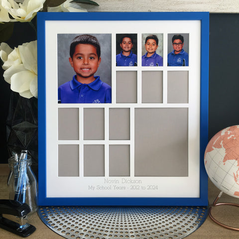 "School Years Photo Frame - 12 photo openings plus two 5x7"" features (with Pre-School/Kindy/Prep)"