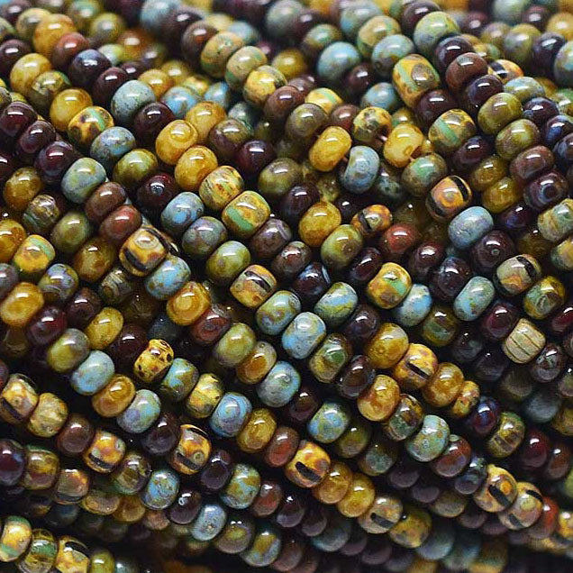 (Choose 1 or 2) 21 Inch Strands, 10/0 Aged Bermuda Stripe Picasso Seed Beads, 2.3mm