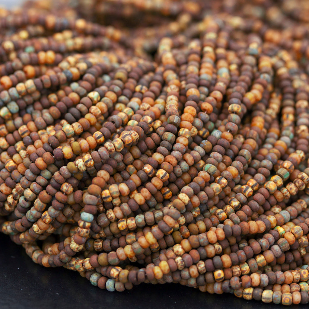 (Choose 1 or 2) 20.5 Inch Strands, 10/0 Aged Rustic Brown Stripe Picasso Seed Beads, 2.3mm