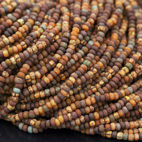"Two 20.5"" Strands, 10/0 Aged rustic striped Picasso mix seed beads, 650 beads"