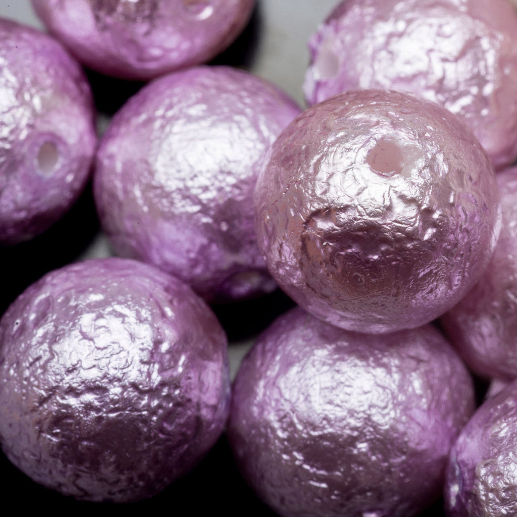 20 Large Lavendar purple pearl Czech glass round beads, 10mm