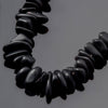 "One 4"" Strand of 23 Cultured Faux Sea Glass Pebble Beads, 8 - 16mm, Black"
