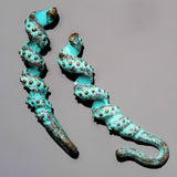 Cast green patina Curlicue ornate tube for cord up to 2.75mm