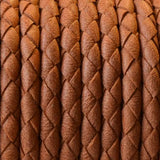 CLEARANCE 4mm Denver medium brown woven round leather cord, 1 Foot