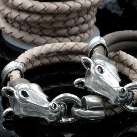 Horse clasp ONLY, Silver Zamak, 10 x 5mm hole