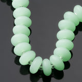 28 Sea glass 12 x 3.5mm rounded thin rondelle beads, Opaque Seafoam