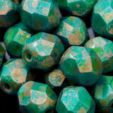 CLEARANCE 25 PERSIAN Turquoise copper Picasso 6mm Czech firepolished rounds