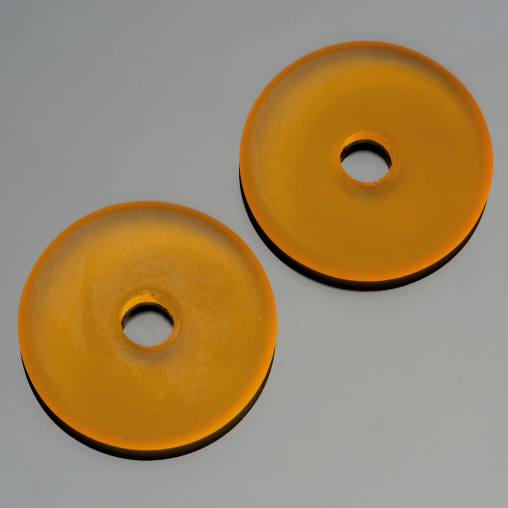 4 Amber sea glass large hole donuts, 25mm, 4mm hole