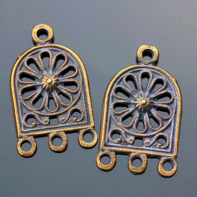 2 Cast Mykonos Ornate Earring Arch, 26 x 15mm, Top Hole 3mm, Antique Brass