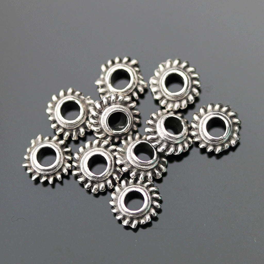 10 Cast Mykonos Bali Style Grover Beads, 6 x 5mm, Hole 2.5mm, Pewter Finish