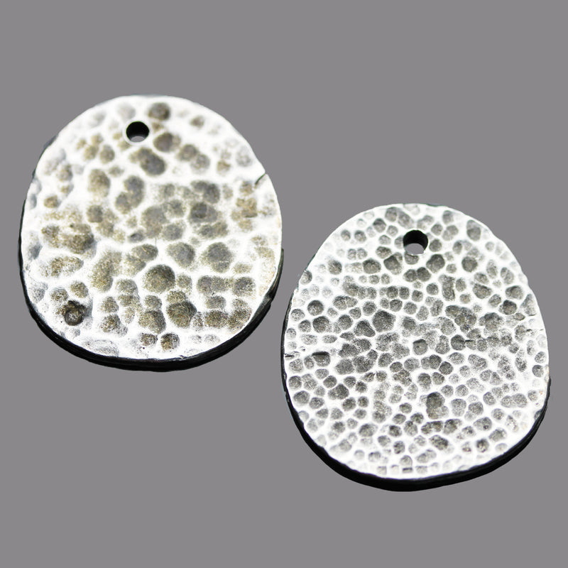 Cast Mykonos Moonscape Pendant, 29 x 27mm, Hole 2mm, Pewter Finish