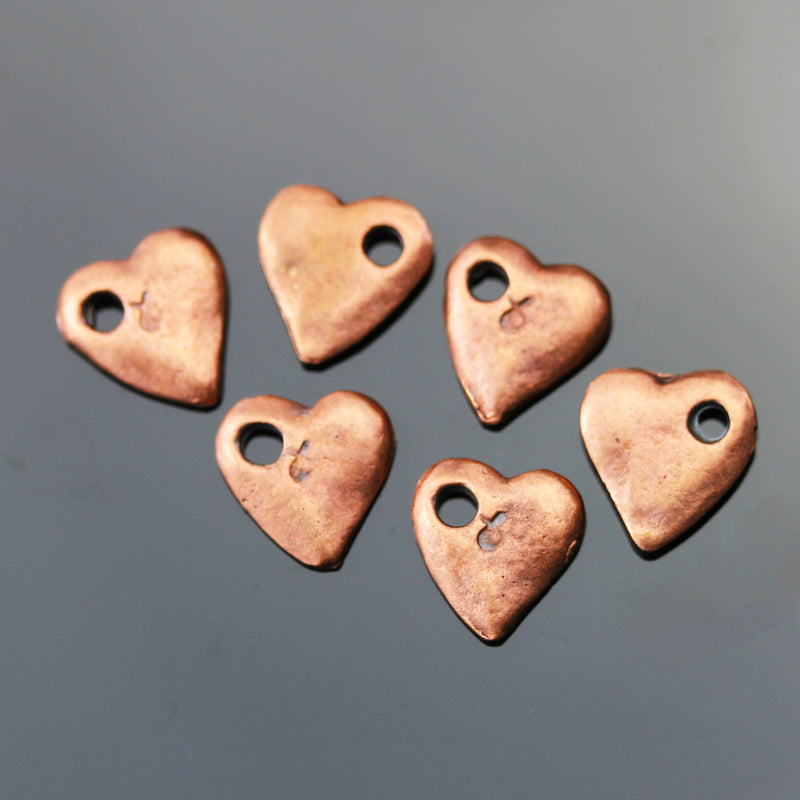 6 Cast Mykonos Copper Finish Heart Charms, 10mm