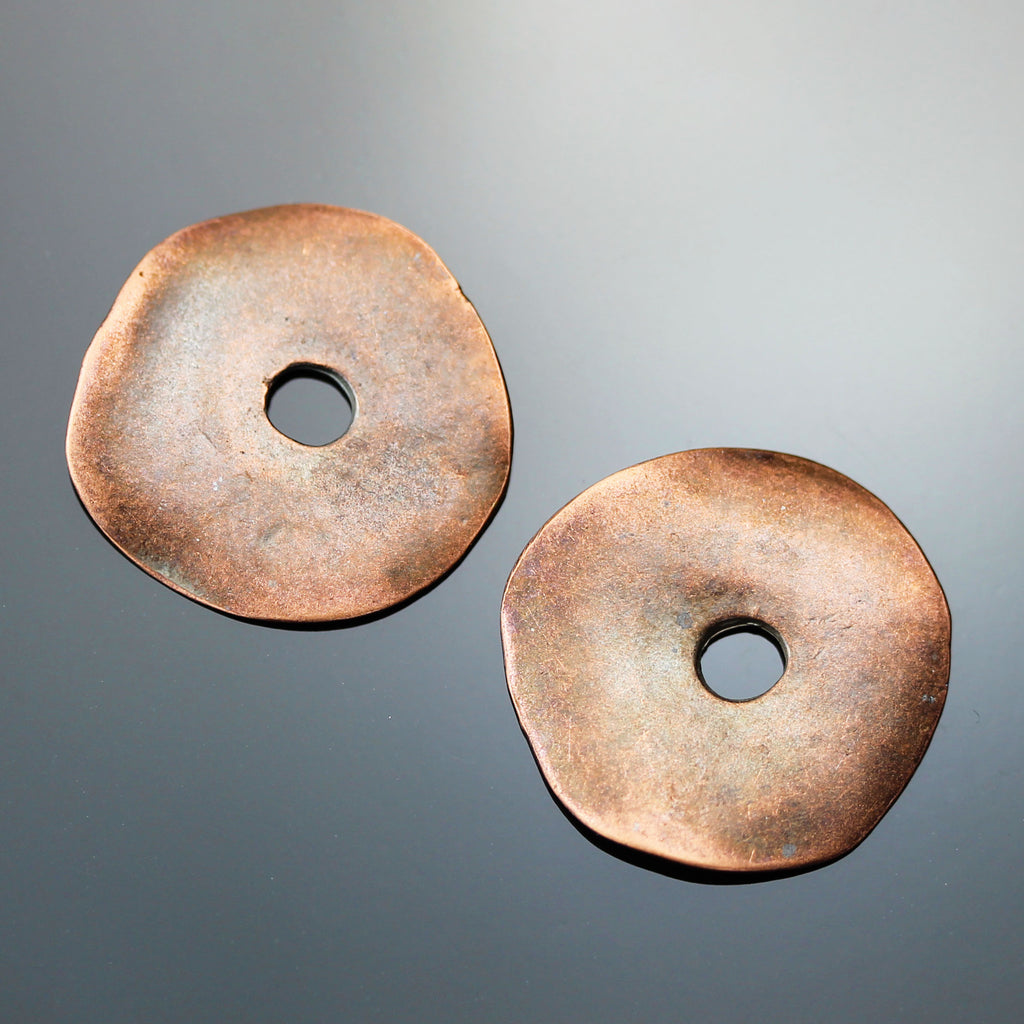 2 Wavy Disc Cornflake Beads, 23mm, Large 4mm Hole, Bronze