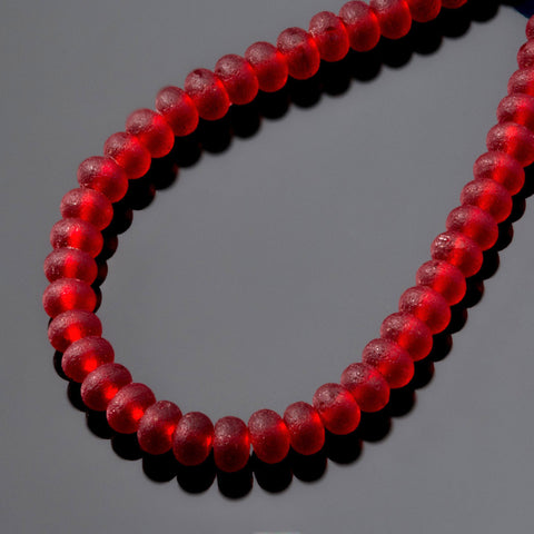 One strand of 68 cultured sea glass 4 x 3mm rondelle beads, Cherry red