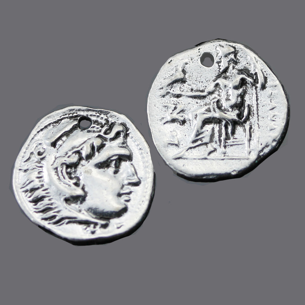 2 Cast Small Roman Coin Charms, 16 x 2mm, Antique Silver