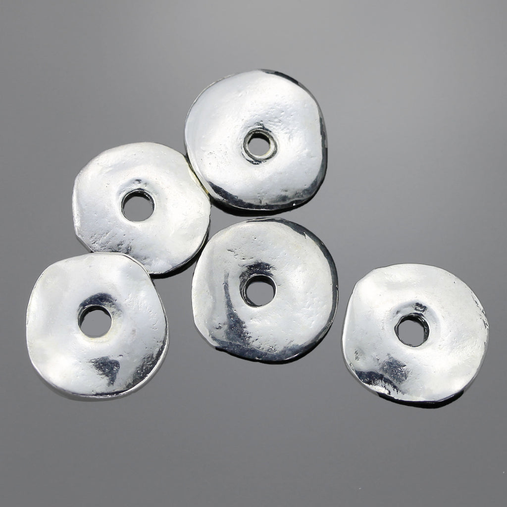 5 or 10 Wavy Disc Cornflake Beads, 15mm, Large 3mm Hole, Silver