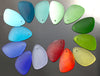 2 Cultured Faux Sea Glass Earring Eclipse Pendants, 25 x 17mm, Lemon