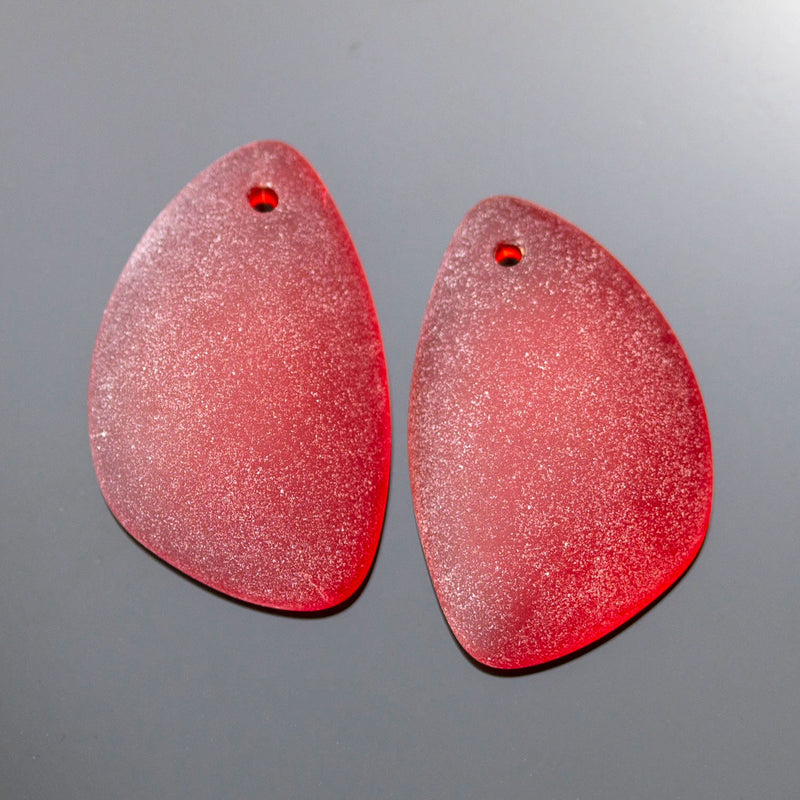 2 Cultured Faux Sea Glass Earring Eclipse Pendants, 25 x 17mm, Cherry Red