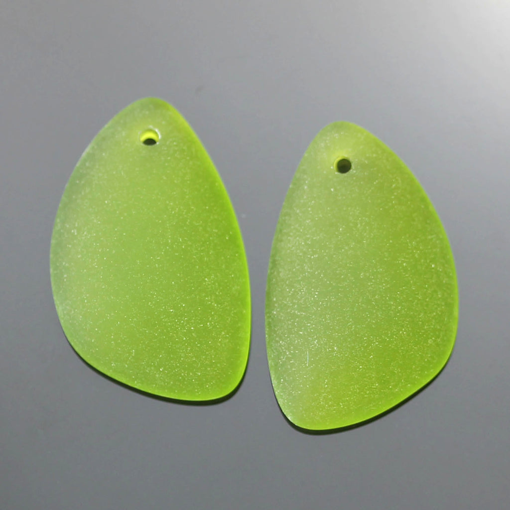 2 Cultured Faux Sea Glass Earring Eclipse Pendants, 25 x 17mm, Olive