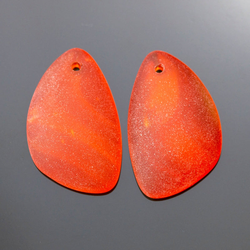 2 Cultured Faux Sea Glass Earring Eclipse Pendants, 25 x 17mm, Tangerine