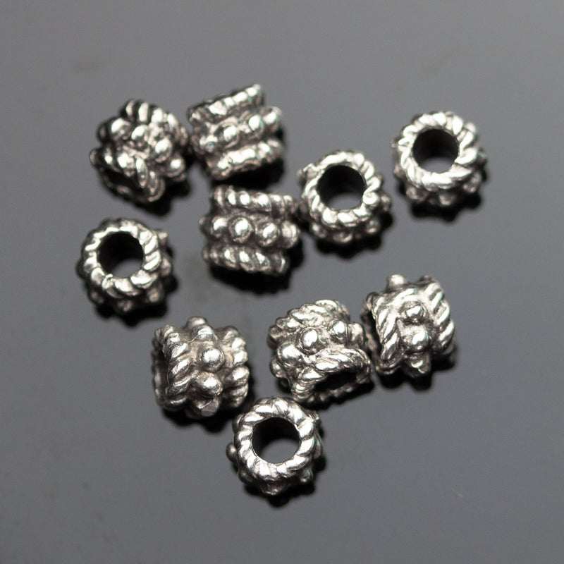 10 Cast Mykonos Fancy Little Beads, 5 x 6mm, Hole 2.75mm, Pewter Finish