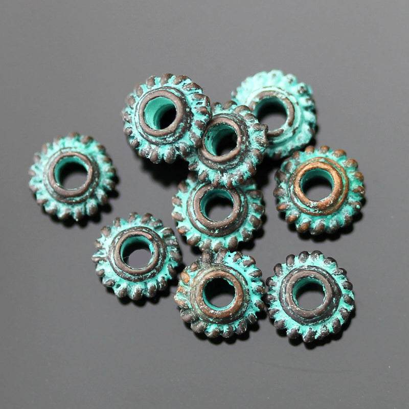 10 Cast Mykonos Bali Style Grover Beads, 6 x 5mm, Hole 2.5mm, Green Patina