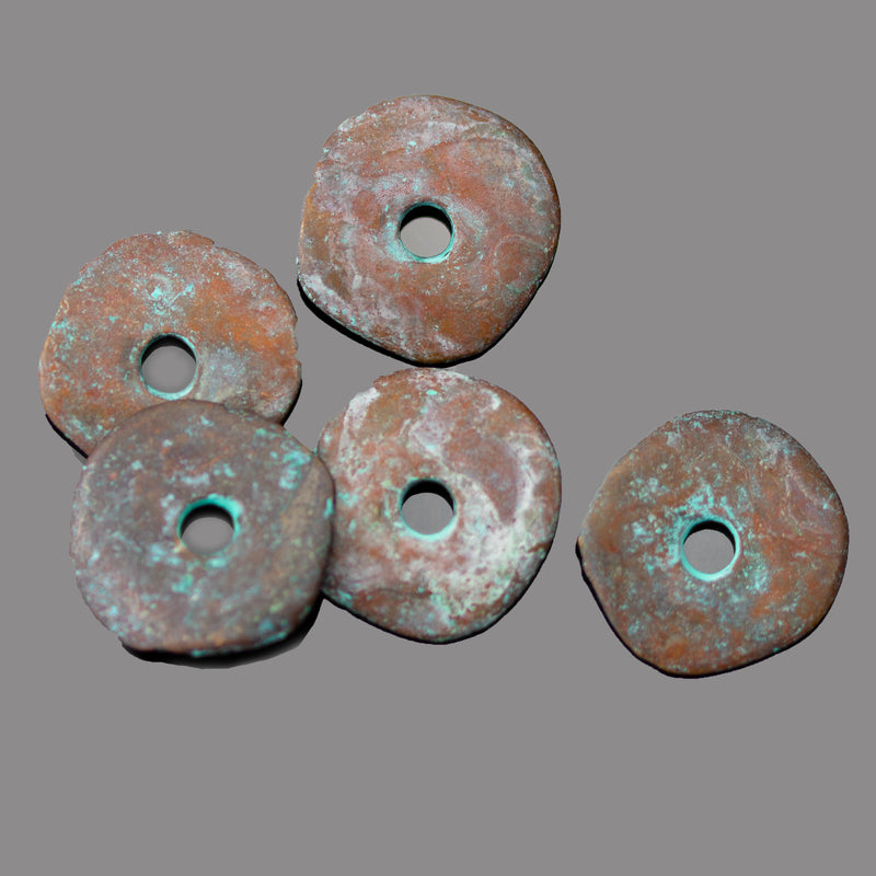 5 Wavy Disc Cornflake Beads, 15mm, Large 3mm Hole, Green Patina