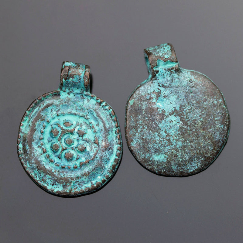 1 or 2 Cast Mykonos Green Patina Ancient Floral Medallion Kuchi, 19 x 24mm, Hole 2mm