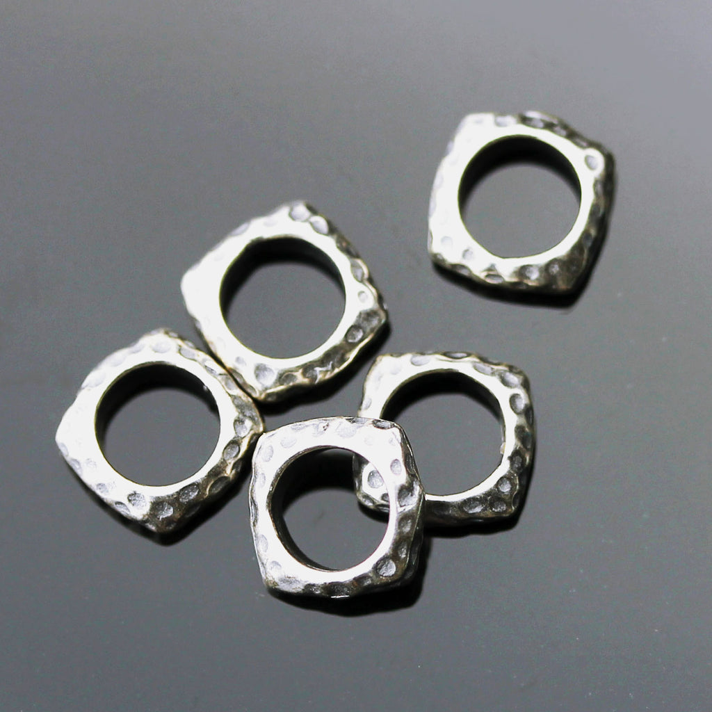 5 JBB Hammered Square Spacer Beads, 7 x 2mm, Hole 4.75mm, Antique Silver