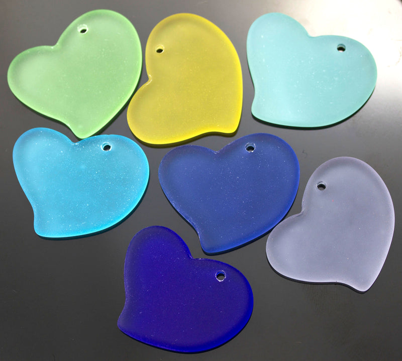 Large Cultured Faux Sea Glass Flat Heart Pendant, 30 x 30mm, Royal Blue