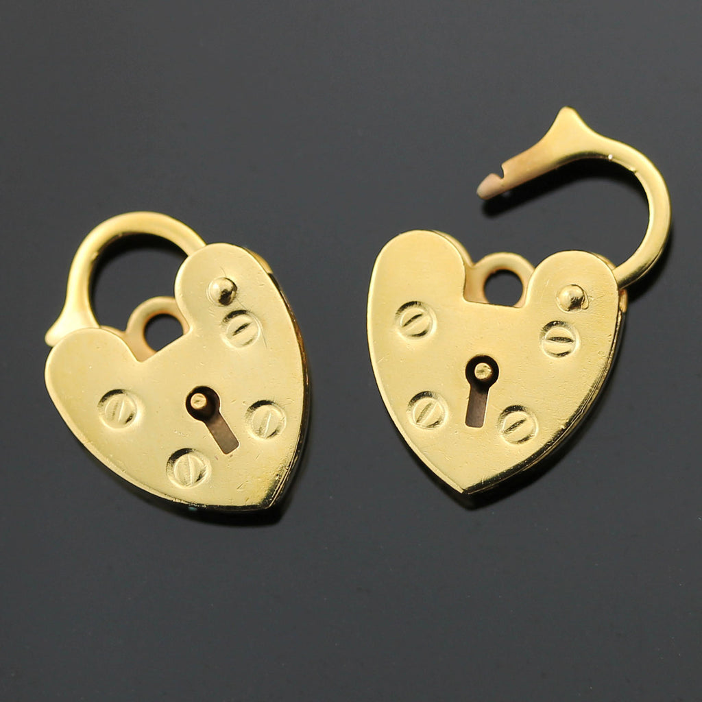 3 Gold Plated Brass Heart Lock Clasp, 11 x 15mm