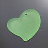 Large Cultured Faux Sea Glass Flat Heart Pendant, 30 x 30mm, Peridot