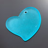 Large Cultured Faux Sea Glass Flat Heart Pendant, 30 x 30mm, Turquoise Bay