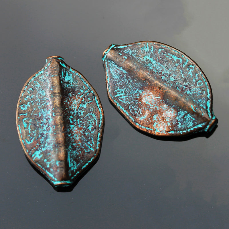 1 or 2 Cast Mykonos Large 2.5mm Hole Leaf Beads, 19 x 28mm, Green Patina