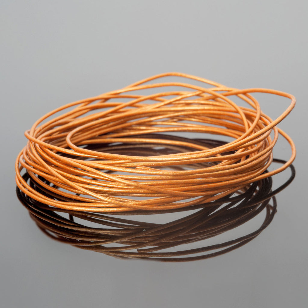 10 Feet 0.5mm Premium round leather cord, Metallic Indian Sun
