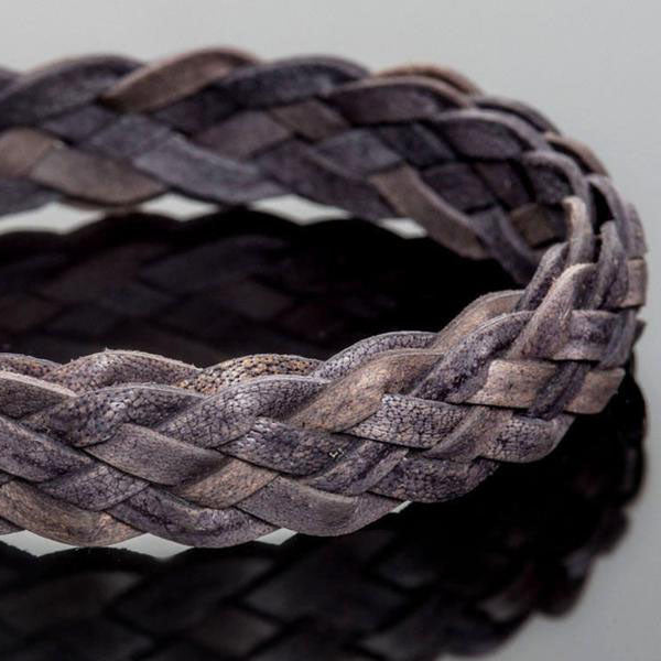 10mm Flat 5 strand antique natural grey braided leather, 1 Foot