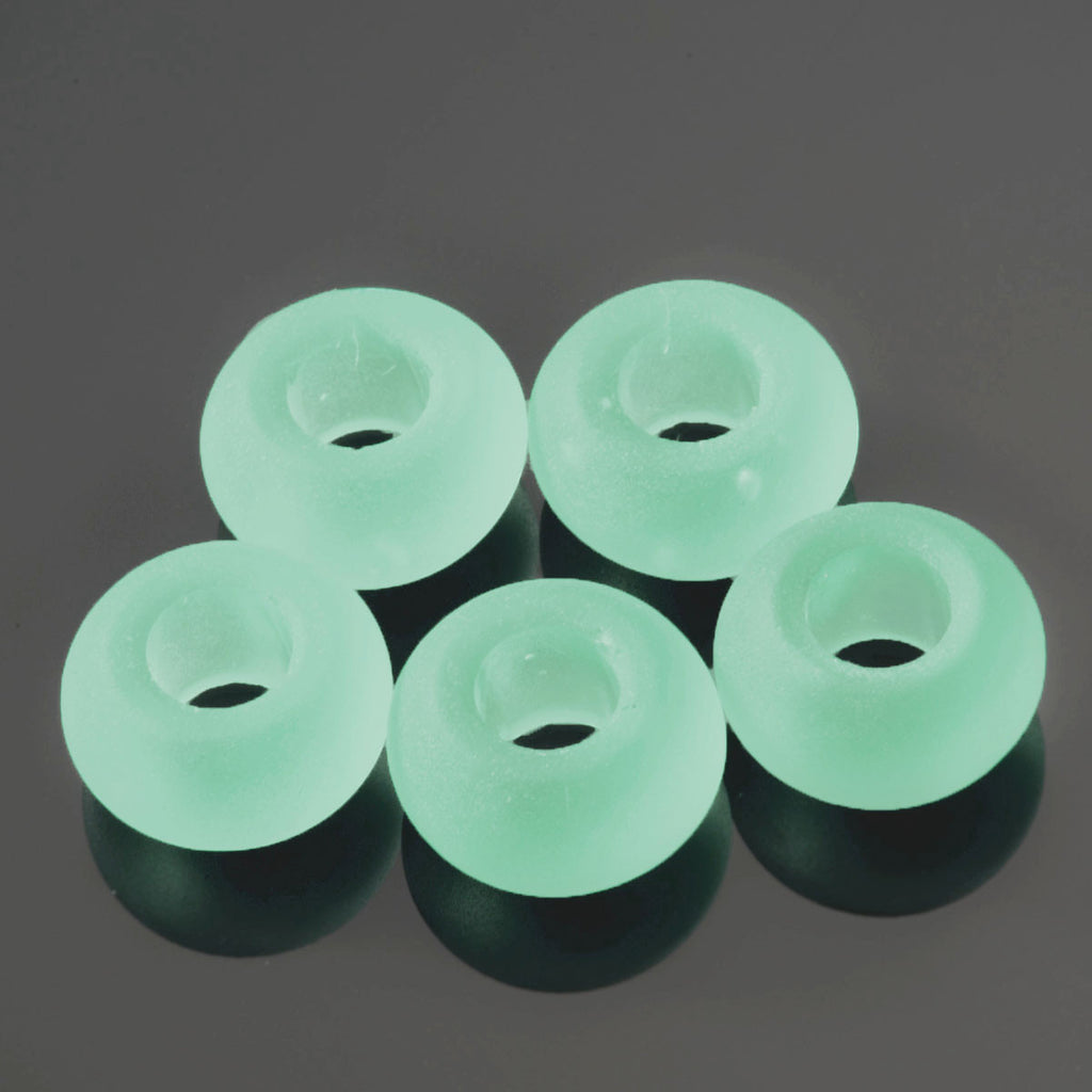 5 Sea glass large 5mm hole beads, 14 x 10mm, Opaque Seafoam