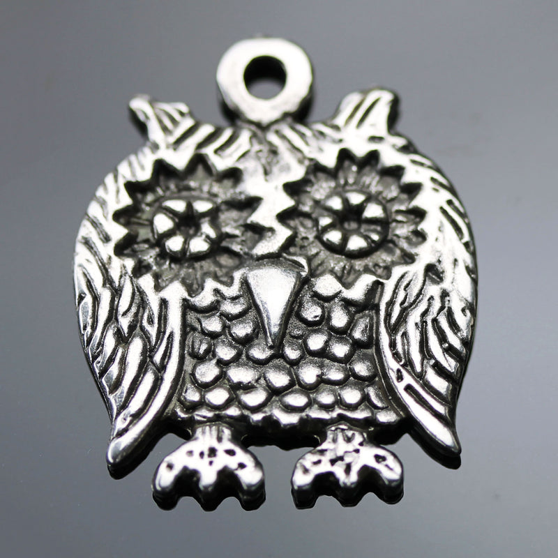Choose Quantity, Cast Mykonos Antique Silver Owl Pendant, 28 x 23mm, Hole 2.5mm