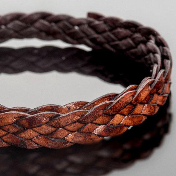 1 Foot 10 x 2mm flat 5 strand braided leather, natural red brown