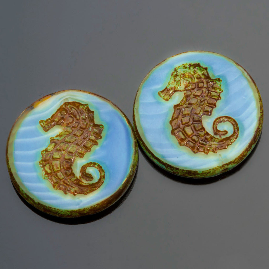 5 Blue Wavy Seahorse Coin Beads, 23mm