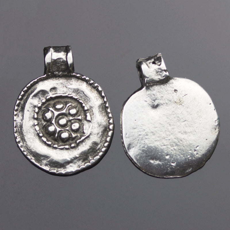 1 or 2 Cast Mykonos Pewter Silver Ancient Floral Medallion Kuchi, 19 x 24mm, Hole 2mm