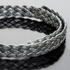 10mm Flat 5 strand metallic grey silver braided leather, 1 Foot