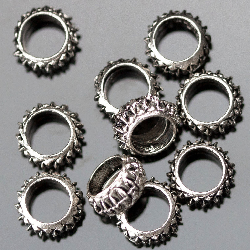 10 Textured Ring Spacer Beads, 3 x 6mm, Hole 4mm, Antique Silver