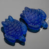 1 Cultured Faux Sea Glass Large Sea Turtle Pendant, Pacific Blue, 35 x 27mm